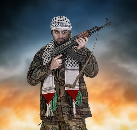soldier from palestine wearing keffieyh