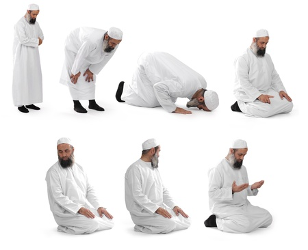 islamic prayer done by muslim sheikh Stock Photo