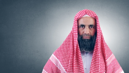 ksa: Islamic Arabian Sheikh with beard posing