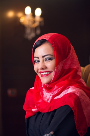 elegant arabian lady wearing hijab in style  photo