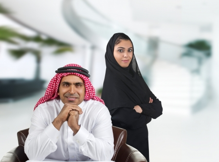 ksa: Portrait of a positive manager with his assistant