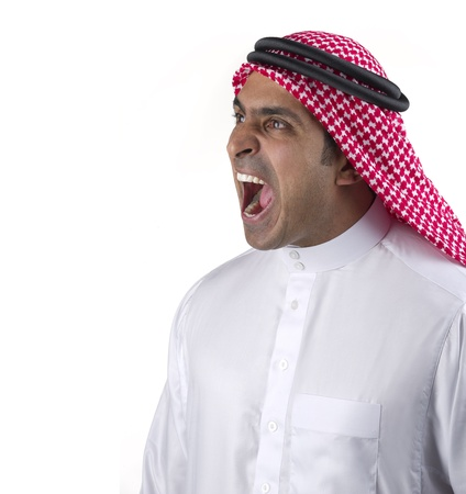 arabian man angry and shouting  photo