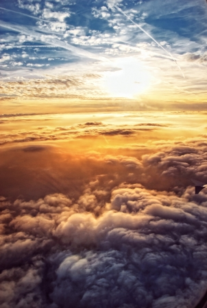 Heavenly sky seen through the windows of an airplane Imagens - 13655690