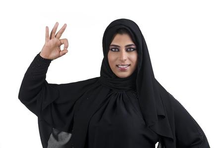 arab hijab: Perfect - arabian business woman showing OK hand sign