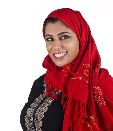 middle eastern ethnicity: arabian islamic lady wearing hijab   smiling