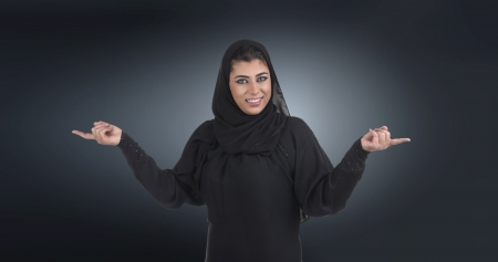 islamic excuctive with hijab in a business presentation scene  photo
