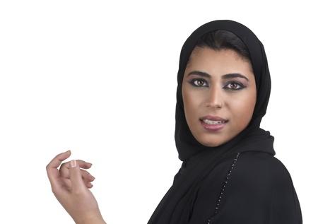 arabian islamic lady wearing hijab   smiling  photo