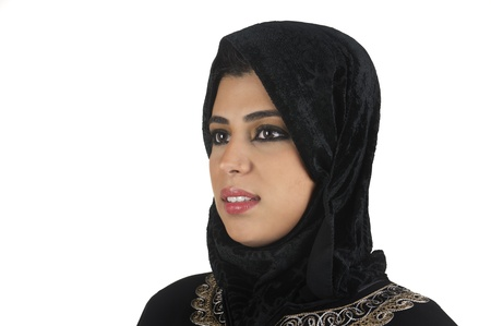 veiled: beautiful arabian lady wearing hijab  Stock Photo