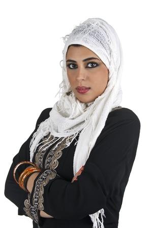 arabian islamic lady wearing hijab   smiling