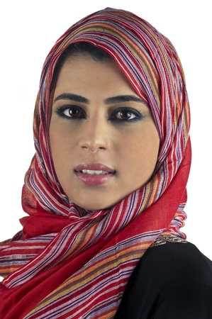 arabian islamic lady wearing hijab   smiling