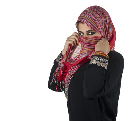 ksa: arabian islamic lady wearing hijab   smiling
