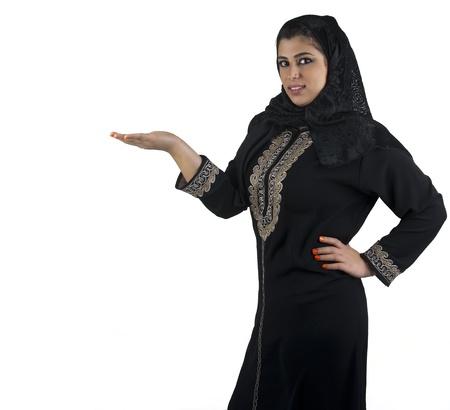 identidad cultural: chica tradicional isl�mica en una escena de presentaci�n de negocios Foto de archivo