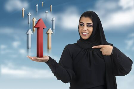 professional islamic executive in hijab in business concept  photo