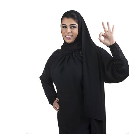 perfect sign: Perfect - arabian business woman showing OK hand sign