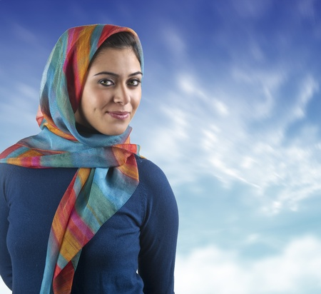 beautiful arabian lady wearing hijab  Stock Photo