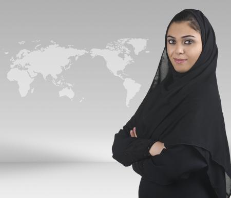 professional islamic woman wearing hijab in a business presentation scene