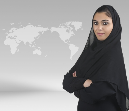 cultural and ethnic clothing: professional islamic woman wearing hijab in a business presentation scene