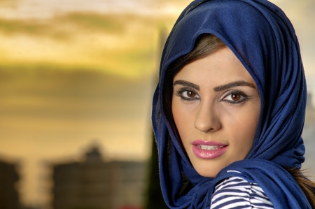 beautiful arabian lady wearing traditional islamic outfit  Stock Photo