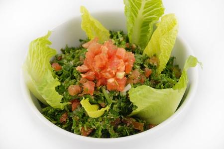 tabbouleh: Tabbouleh salad on white
