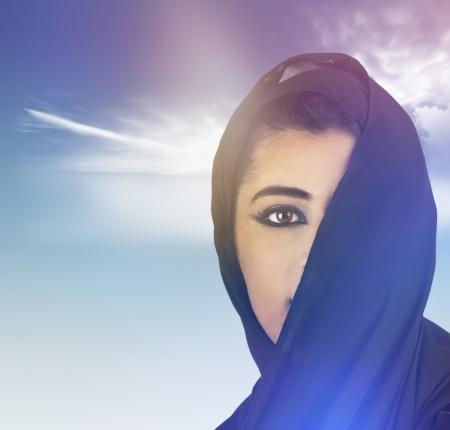 KSA: beautiful stylish islamic girl wearing hijab  Stock Photo