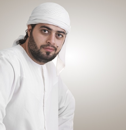 traditional arabian businessman thinking with space for text  photo