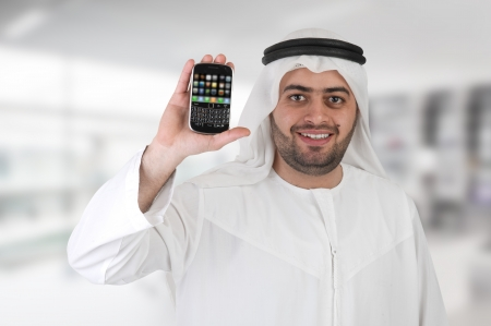 arabian businessman in a mobile presentation  Stock Photo - 13678722