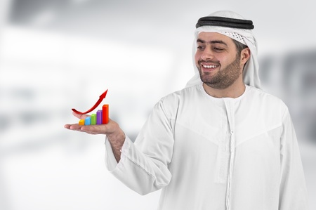 arab people: arabian businessman with a chart diagram presentation