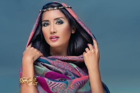 bedouin: Portrait of a beauty arabian lady in a sensual beauty portrait  Stock Photo