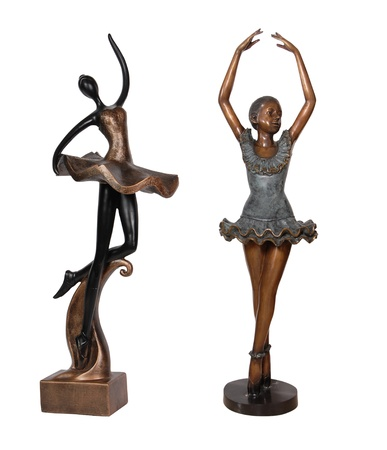 vintage bronze statue of ballet dancers  photo