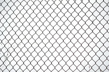 barb wire isolated: chain link fence  Stock Photo
