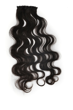 extension: Black Hair over white  Stock Photo