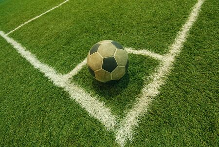 soccer ball on green grass in an indoor playground Stock Photo - 14683511