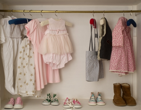 Baby Girl Cute Closet with Handing Dress   Boots Stock Photo - 16564404