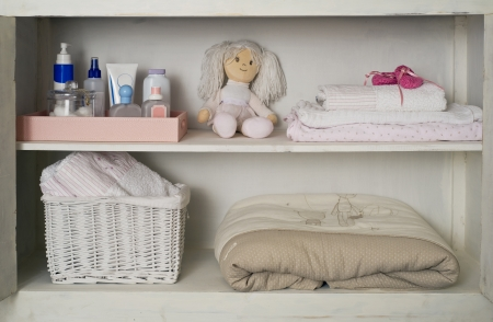 Baby Girl s Closet with Towels, Blankets , Toy   Cosmetics