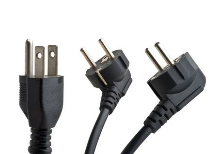 Power Plugs isolated, Clipping path included  Stock Photo