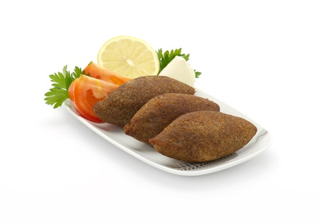 Lebanese Traditional Food of Fried Kibe Isolated on White