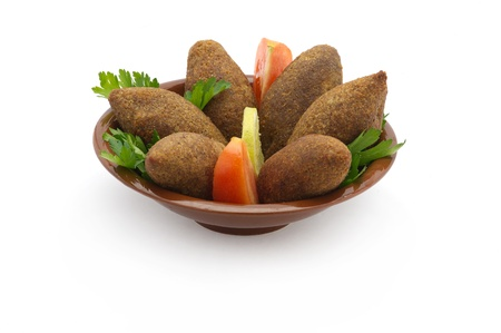 arabic food: Lebanese Traditional Food of Fried Kibe Isolated on White