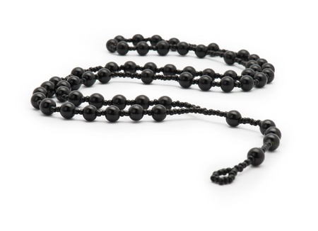 Black Rosary Isolated on White Background  photo