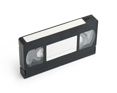 Old video cassette tape isolated with a blank tag Stock Photo - 16664793