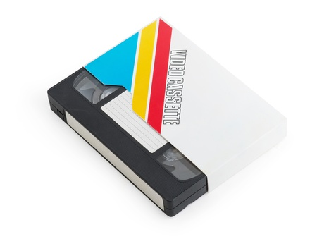 Old video cassette tape isolated with a blank tag Stock Photo - 16664779