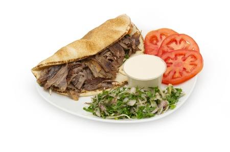 Shoarma Doner Kebab op een bord Stockfoto
