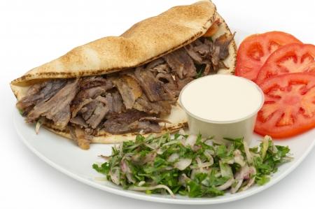 Shawarma Doner Kebab on a plate Stock Photo - 18512271