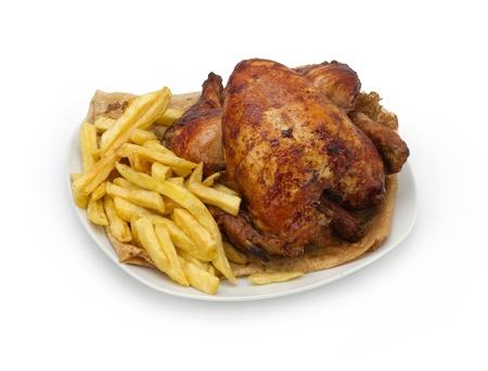 seasoned: Roasted Chicken seasoned with fries