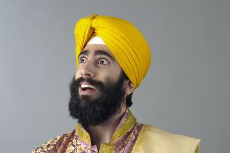 sikhism: Portrait of Indian sikh man with bushy beard Stock Photo
