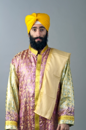turban: Portrait of Indian sikh man with bushy beard Stock Photo