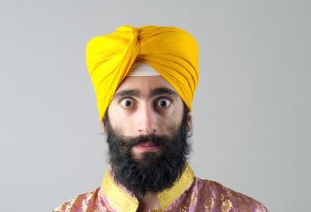 bushy: Portrait of Indian sikh man with bushy beard Stock Photo