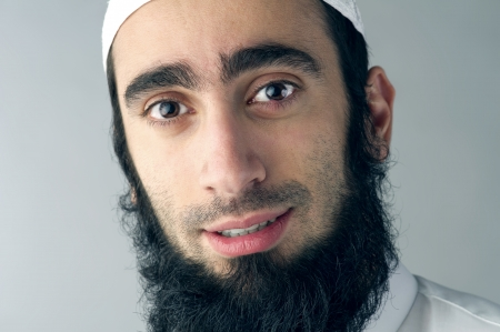 middle eastern ethnicity: Arabic Muslim man with beard portrait