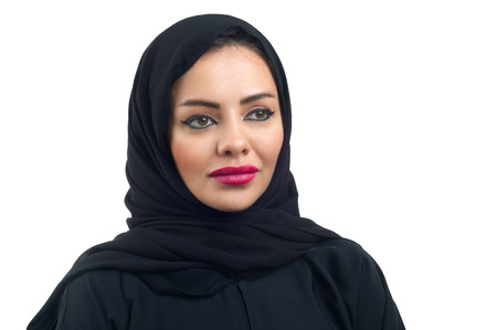 arab hijab: Arabian woman posing against a white background