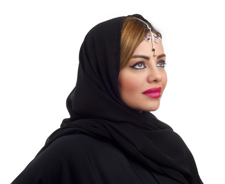 abudhabi: Arab woman wearing head jewelry isolated on white