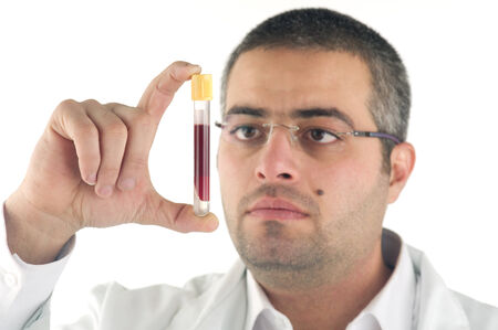 portrait of a doctor diagnosing a blood test photo